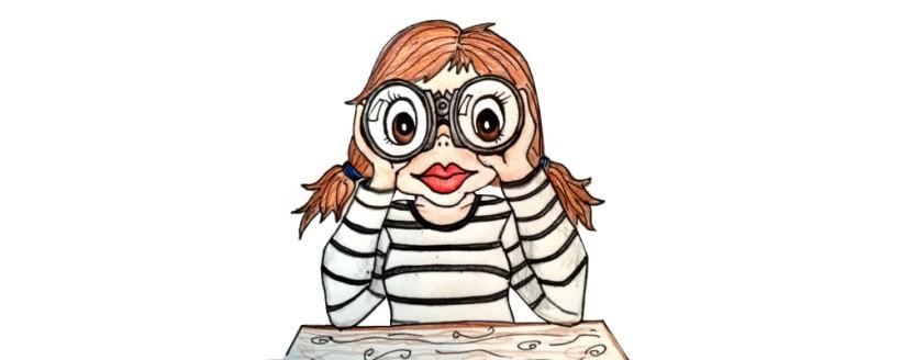 illustration girl search binoculars