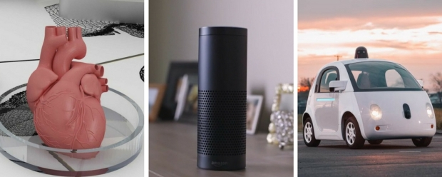 3D printed organ, Amazon Echo, Driverless car