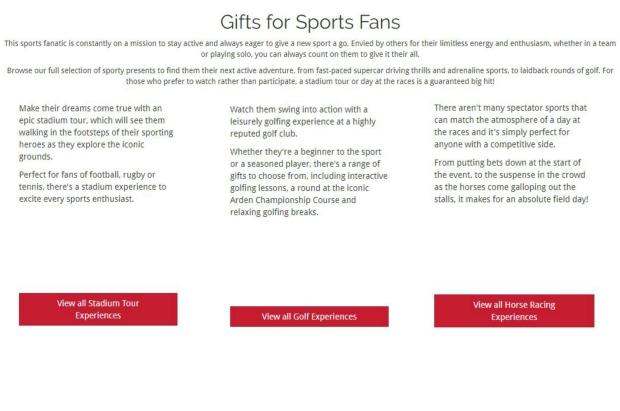 sports fan SEO copy Red letter days